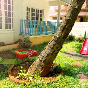 Outdoor play area of Small World Preschool