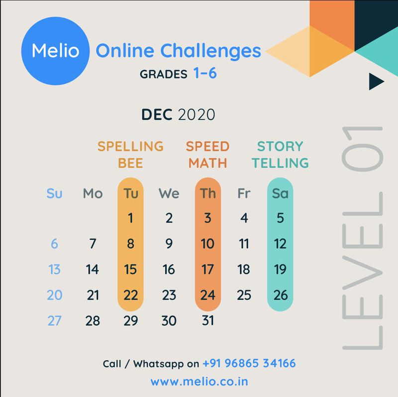 Melio Spelling Bee, Speed Math & Storytelling Challenge Level 1 Cover Image