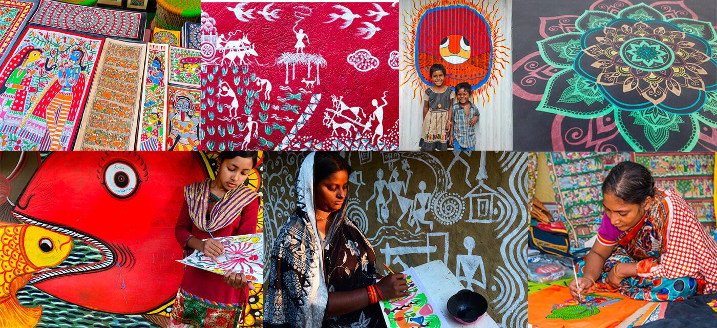 Indian Folk Art Madhubani, Warli, Gond and Mandala