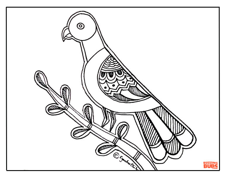 Parrot design in Madhubani Indian Folk Art