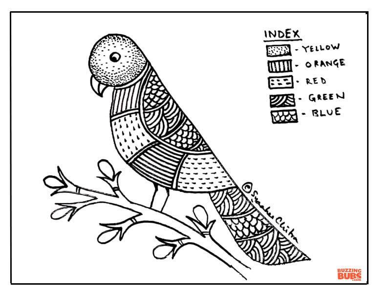 Parrot design in Gond Folk Art Form
