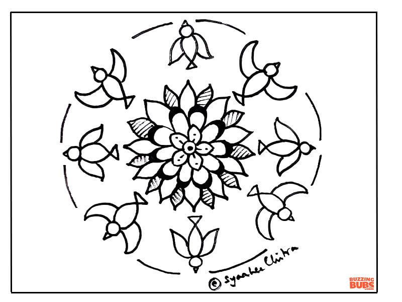 Parrot design in Mandala Folk Art Form