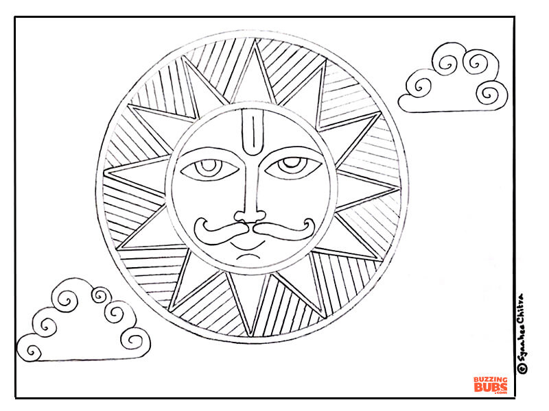Sun Design in Madhubani Indian Folk Art