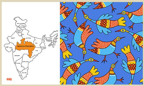Gond Folk Art form fish patterns
