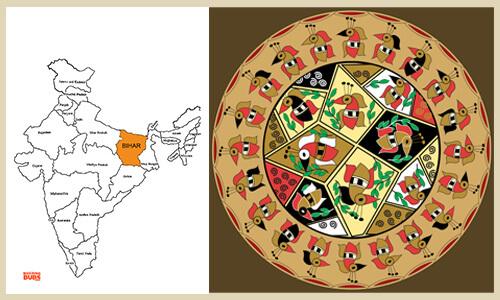 Madhubani bird pattern designs