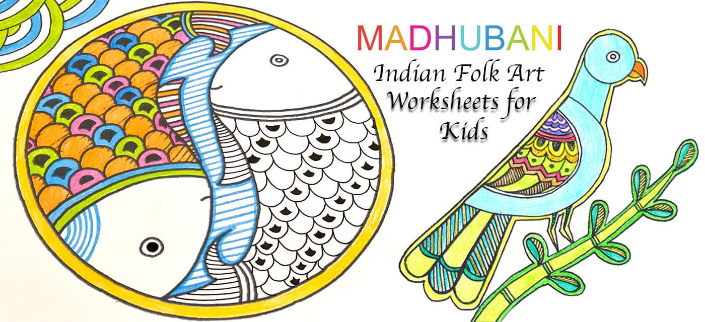 Madhubani Indian Folk Art Activity Worksheets for Kids Cover Image