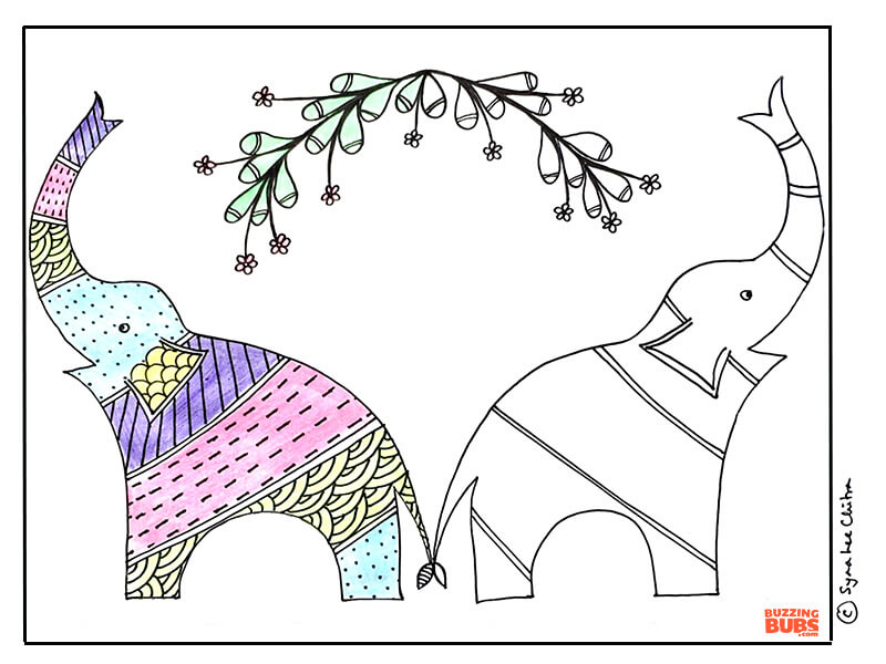 Gond Folk art Elephant design
